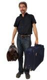 Взрослый человек с чемоданами Стоковое Изображение