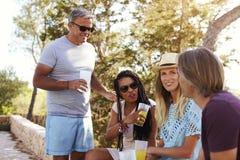 2 взрослых пары общаясь outdoors, Ibiza, конец вверх Стоковые Фото
