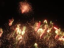 взрывая ноча феиэрверков Стоковые Изображения