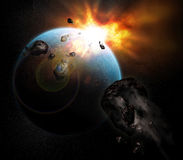 взрывая планета иллюстрация вектора