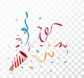 Взрывая popper партии, на прозрачной предпосылке иллюстрация штока