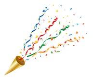 Взрывая popper партии с confetti и лентой Стоковые Фотографии RF