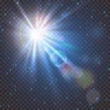 Взрыв вспышки света звезды с нерезкостью и влиянием пирофакела объектива Сияющее зарево солнца Сверкная свет лучей солнца на проз иллюстрация вектора