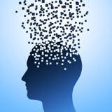 Взрыв головы на голубой предпосылке, иллюстрация человеческого стресса, растворения головы иллюстрация вектора