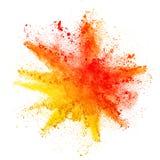 Взрыв покрашенного порошка на белой предпосылке Стоковые Изображения