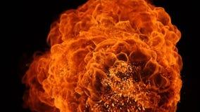 Взрыв шарика огня, высокоскоростная камера, изолированное пламя огня на черной предпосылке видеоматериал