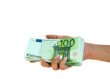 взятие руки евро Стоковые Фото
