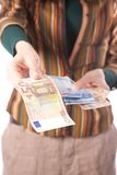 взятие 50 евро Стоковое фото RF