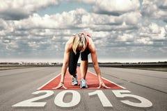 Взлётно-посадочная дорожка 2015 старта бегуна Стоковое фото RF