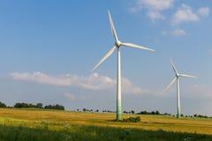 2 двигателя ветра с одичалым лугом Стоковая Фотография