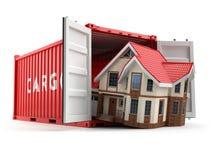 двигать дома Контейнер дома и грузовых перевозок на whit иллюстрация штока