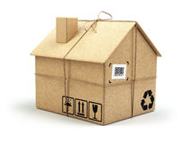 двигать дома Рынок недвижимости белизна принципиальной схемы изолированная поставкой Картон bo иллюстрация вектора