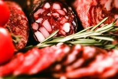 3 вида салями с томатами и перчинкой Стоковое фото RF