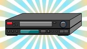 Видеозаписывающее устройство черного старого винтажного ретро битника античное для videocassettes для смотреть кино, видео с сери иллюстрация вектора