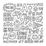 Видеоигры помечая буквами шаблон плаката, руку нарисованная иллюстрация вектора иллюстрация вектора