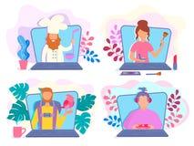 Видео- блоггеры на компьтер-книжке экранируют присутствующие кулинарные отчеты бесплатная иллюстрация