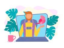 Видео- блоггер, vloger на экране компьтер-книжки в видео о trav бесплатная иллюстрация