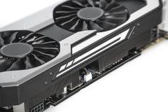 Видео- видеокарта с мощным GPU изолированная на белом backgrou Стоковые Изображения