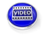 Видео- значок на лоснистой голубой круглой кнопке иллюстрация штока