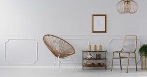 Видео золота, элегантный интерьер живущей комнаты с чертежом на серой стене с прессформой сток-видео