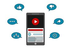 Видео- маркетинг - захват Youtube иллюстрация штока