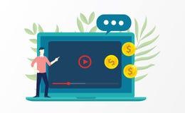 Видео- маркетинг с бизнесменом объяснить на фронте ноутбука и денег иллюстрация штока