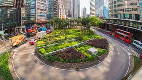 Видео промежутка времени движения центра города Гонконга около центральной станции Timelapse 4K видеоматериал
