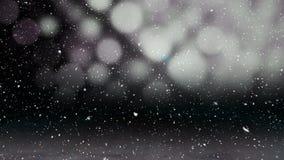Видео- состав с падая снегом над анимацией с голубой линией сверкнает появляющся иллюстрация штока