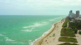 Видео сцены пляжа Майами воздушное видеоматериал
