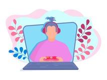 Видео- gamer блоггера видео- отчет о играх и видео- abou иллюстрация штока