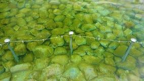 видео 4K подводного взгляда к поверхности чистой воды с камнями Они камни в фонтане Монетки сток-видео