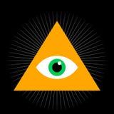 Видеть глаз Полностью видя глаз внутри пирамиды треугольника также вектор иллюстрации притяжки corel Masonic символ Стоковое Изображение