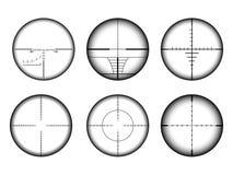 Видимость Collimato и набор перекрестий снайперской винтовки Военные значки цели и цели AR иллюстрация вектора