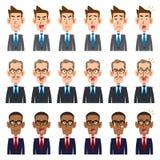 6 видов выражения лица _1 3 бизнесменов иллюстрация штока