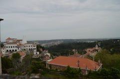 Виды с воздуха национального дворца и ратуши в Sintra Природа, архитектура, история, фотография улицы 13-ое апреля 2014 стоковое фото rf