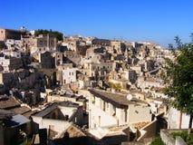 Вид на город всемирного наследия ЮНЕСКО Matera - Базиликата, южная Италия стоковое фото rf