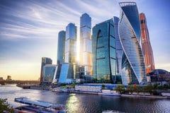 Вид на город Москвы дела International Москвы небоскребов Стоковые Фотографии RF