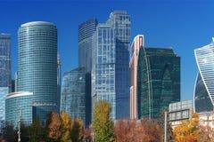 Вид на город Москвы дела International Москвы небоскребов стоковые изображения rf
