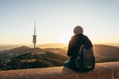 Вид на город от держателя Tibidabo Барселоны Испании стоковое изображение rf
