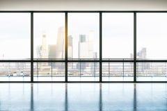 Вид на город от офиса пентхауса иллюстрация вектора