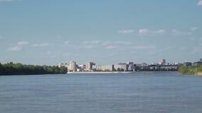 Вид на город от реки сток-видео