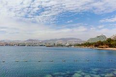 Вид на город, панорамный взгляд luxur Eilat, touristic и каникул стоковые фотографии rf