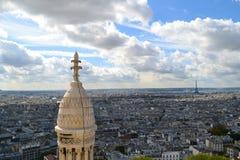 Вид на город Парижа в солнечной погоде, Франции Стоковые Изображения