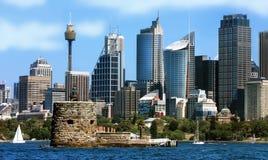 Вид на город Сиднея в Австралии стоковые изображения