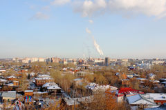 Вид на город с фабриками Стоковое Фото
