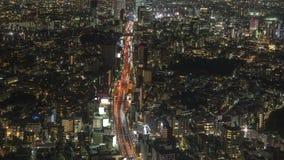 Вид на город Токио к Shibuya вдоль шоссе вечером, timelapse акции видеоматериалы