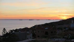 Вид на море захода солнца в Кипре стоковые фотографии rf