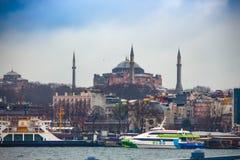 Вид на море Hagia Sophia стоковые фотографии rf