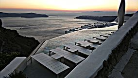 Вид на море Santorini на volcane стоковые фото