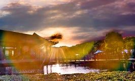Вид на озеро вечера Стоковое Изображение